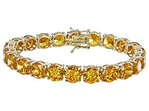 Bella Luce® 72.11ctw Round Yellow Diamond Simulant 18k Gold Over Silver Bracelet