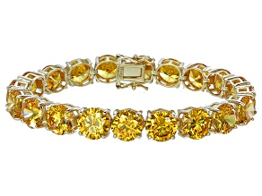 Bella Luce® 90.25ctw Round Yellow Diamond Simulant 18k Gold Over Silver Bracelet