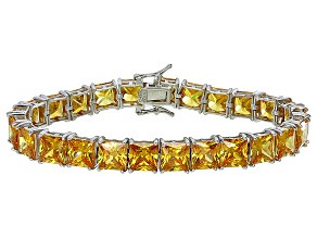 Bella Luce® 62.94ctw Yellow Diamond Simulant Rhodium Over Silver Bracelet