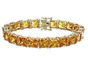 Bella Luce® 80.47ctw Yellow Diamond Simulant 18k Gold Over Silver Bracelet