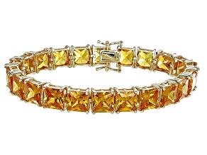 Bella Luce® 80.47ctw Yellow Diamond Simulant 18k Gold Over Silver Bracelet