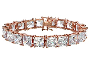Cubic Zirconia Princess Cut Tennis Bracelet 18k Rose Gold Over Silver Bracelet 104.50ctw