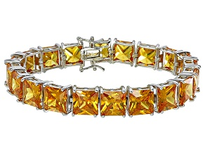 Bella Luce® 104.50ctw Yellow Diamond Simulant Rhodium Over Silver Bracelet
