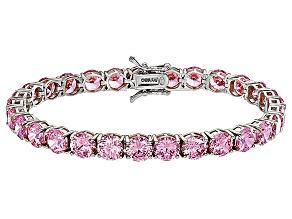 Bella Luce® 35.82ctw Round Pink Diamond Simulant Rhodium Over Silver Bracelet