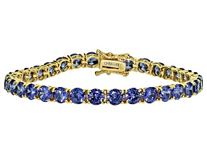 Bella Luce® 25.84ctw Tanzanite Simulant 18k Yellow Gold Over Silver Bracelet