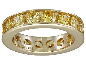 Bella Luce® 5.7ctw Yellow Diamond Simulant 18k Yellow Gold Over Silver Ring