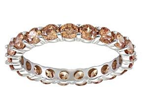 Bella Luce® 3.60ctw Round Champagne Diamond Simulant Rhodium Over Silver Ring