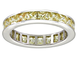 Bella Luce® 4.75ctw Princess Yellow Diamond Simulant Rhodium Over Silver Ring