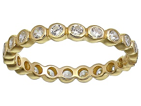 Bella Luce® 1.00ctw Round Diamond Simulant 18k Yellow Gold Over Silver Ring