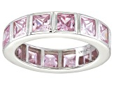 Bella Luce® 5.85ctw Princess Pink Diamond Simulant Rhodium Over Silver Ring