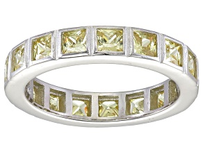 Bella Luce® 4.00ctw Princess Yellow Diamond Simulant Rhodium Over Silver Ring