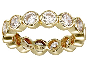Bella Luce® 4.94ctw Round Diamond Simulant 18k Yellow Gold Over Silver Ring