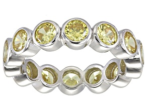 Bella Luce® 4.94ctw Round Yellow Diamond Simulant Rhodium Over Silver Ring