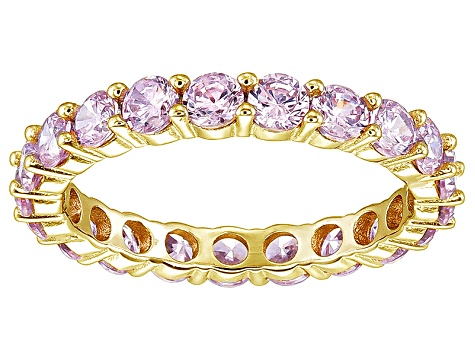 Bella Luce® 3.60ctw Pink Diamond Simulant 18k Yellow Gold Over Silver Ring