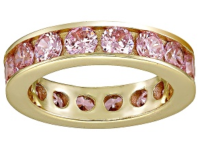 Bella Luce® 5.7ctw Pink Diamond Simulant 18k Yellow Gold Over Silver Ring