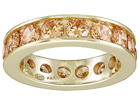 Bella Luce® 5.7ctw Champagne Diamond Simulant 18k Yellow Gold Over Silver Ring