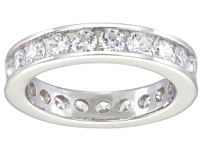 Bella Luce® 3.42ctw Round Diamond Simulant Rhodium Over Sterling Silver Ring