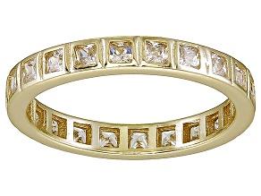 Bella Luce® 1.40ctw Princess Diamond Simulant 18k Yellow Gold Over Silver Ring