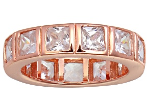 Bella Luce® 5.85ctw Princess Diamond Simulant 18k Rose Gold Over Silver Ring