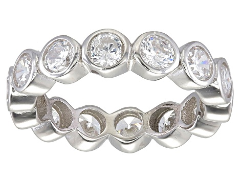 Bella Luce® 4.94ctw Round Diamond Simulant Rhodium Over Sterling Silver Ring