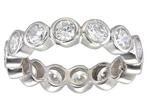 Bella Luce® 4.94ctw Round Diamond Simulant Rhodium Over Sterling Silver Ring