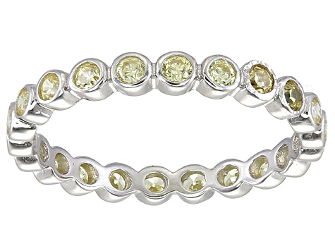 Bella Luce® 1.00ctw Round Yellow Diamond Simulant Rhodium Over Silver Ring