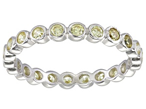 Bella Luce® 1.00ctw Round Yellow Diamond Simulant Rhodium Over Silver Ring