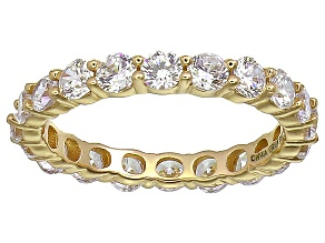 Bella Luce® 3.60ctw Round Diamond Simulant 18k Yellow Gold Over Silver Ring