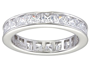 Bella Luce® 4.75ctw Princess Diamond Simulant Rhodium Over Silver Ring