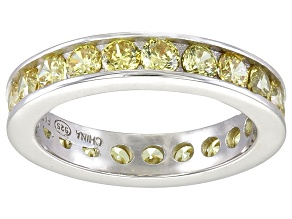 Bella Luce® 3.42ctw Round Yellow Diamond Simulant Rhodium Over Silver Ring