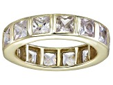 Bella Luce® 5.85ctw Princess Diamond Simulant 18k Yellow Gold Over Silver Ring