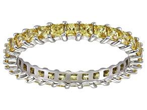 Bella Luce® 1.96ctw Princess Yellow Diamond Simulant Rhodium Over Silver Ring