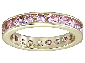Bella Luce® 3.42ctw Pink Diamond Simulant 18k Yellow Gold Over Silver Ring