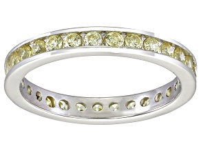 Bella Luce® 1.35ctw Round Yellow Diamond Simulant Rhodium Over Silver Ring