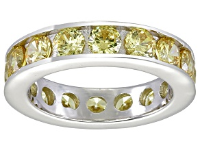 Bella Luce® 5.7ctw Round Yellow Diamond Simulant Rhodium Over Silver Ring