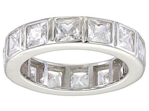 Bella Luce® 5.85ctw Princess Diamond Simulant Rhodium Over Silver Ring