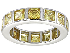 Bella Luce® 5.85ctw Princess Yellow Diamond Simulant Rhodium Over Silver Ring