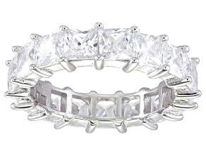 Bella Luce® 6.75ctw Princess Diamond Simulant Rhodium Over Silver Ring