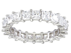 Bella Luce® 4.75ctw Princess Diamond Simulant Rhodium Over Silver Eternity Ring