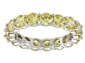 Bella Luce® 6.08ctw Round Yellow Diamond Simulant Rhodium Over Silver Ring