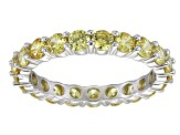 Bella Luce® 3.60ctw Round Yellow Diamond Simulant Rhodium Over Silver Ring