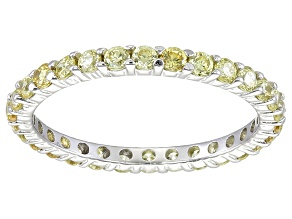 Bella Luce® 1.40ctw Round Yellow Diamond Simulant Rhodium Over Silver Ring