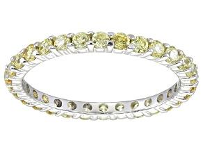 Bella Luce® 1.40ctw Round Yellow Diamond Simulant Rhodium Over Silver Ring