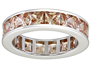 Bella Luce® 6.75ctw Champagne Diamond Simulant Rhodium Over Silver Ring