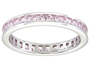 Bella Luce® 1.96ctw Princess Pink Diamond Simulant Rhodium Over Silver Ring