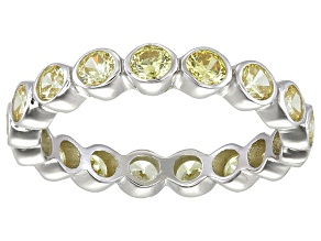 Bella Luce® 2.88ctw Round Yellow Diamond Simulant Rhodium Over Silver Ring