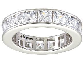 Bella Luce® 6.75ctw Princess Diamond Simulant Rhodium Over Silver Ring