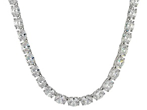 Bella Luce® 96.66ctw Oval Diamond Simulant Rhodium Over Silver Tennis Necklace
