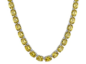 Bella Luce® 96.66ctw Oval Yellow Diamond Simulant Rhodium Over Silver Necklace