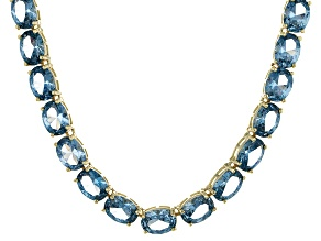 Bella Luce® 65.31ctw Oval Apatite Simulant 18k Gold Over Silver Necklace